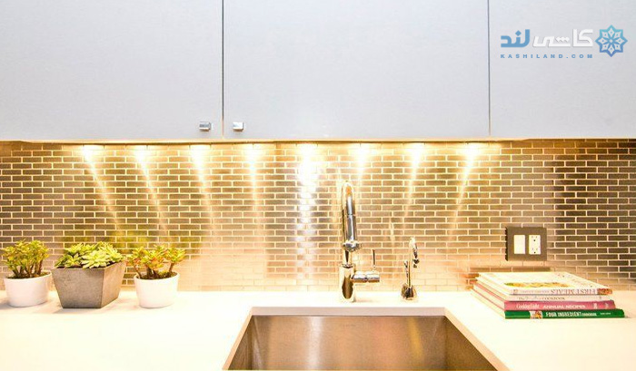 طرح کاشی آشپزخانه طلایی